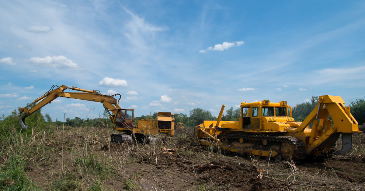 Digger and Bulldozer Land Clearing Equipment